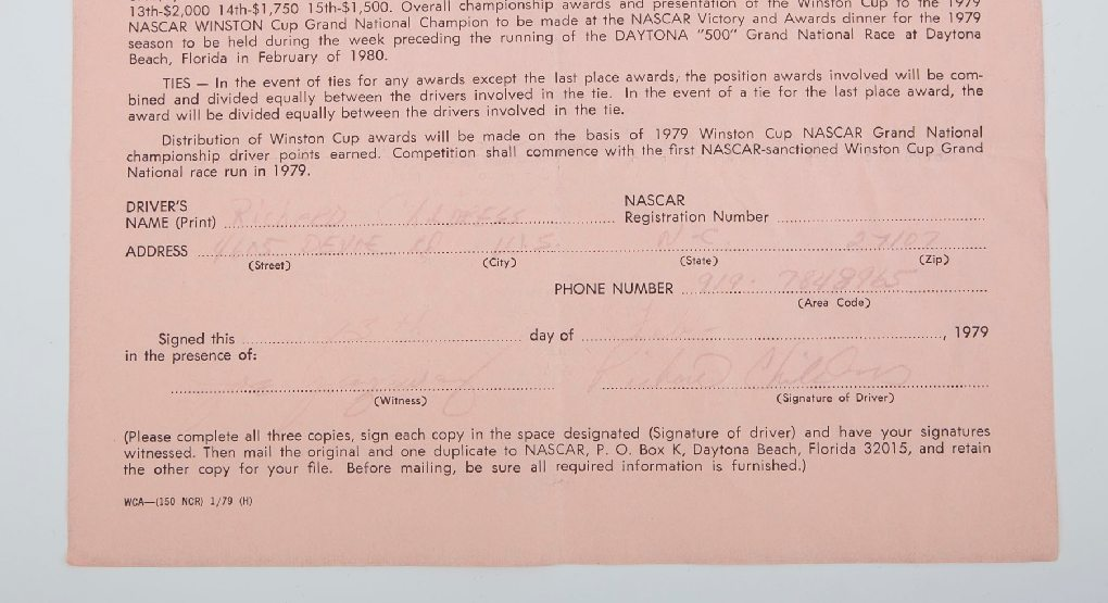 Bottom of 1979 NASCAR drivers agreement