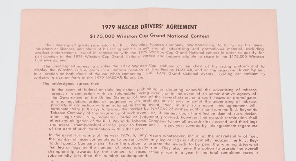 Top portion of 1979 NASCAR drivers agreement