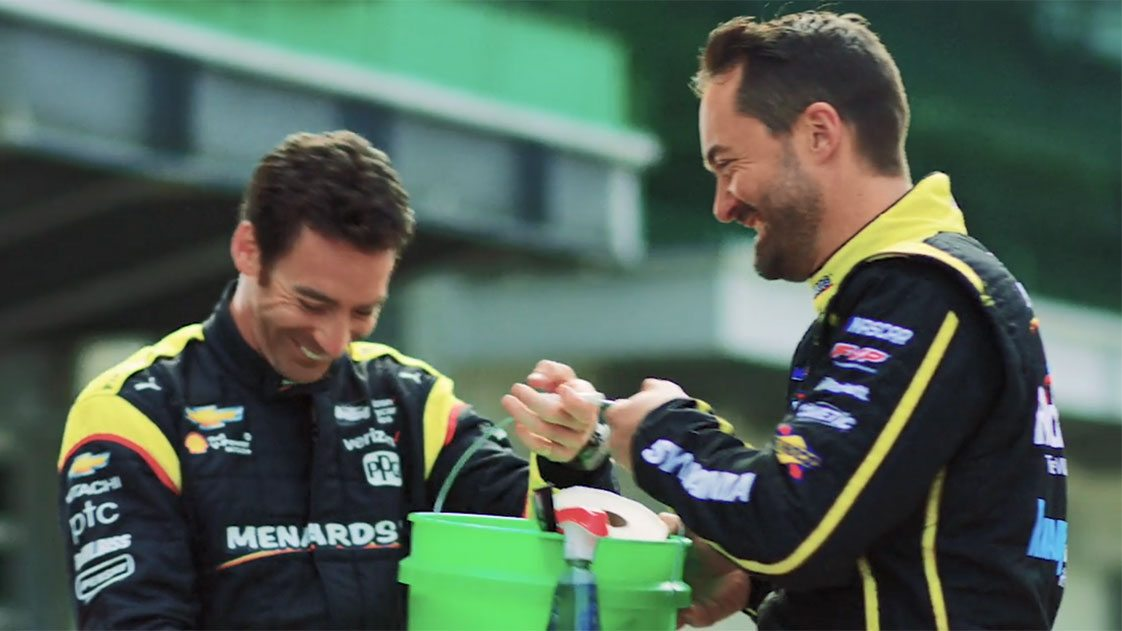 Menard, Pagenaud Can't Keep Straight Faces in Menards Outtakes