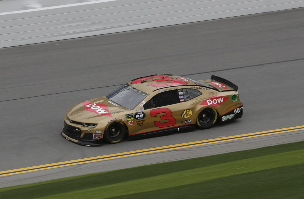 Austin Dillon posted the 10th-fastest time in the gold-colored No. 3 Dow Chevrolet Camaro ZL1 during Daytona 500 qualifying. (HHP)