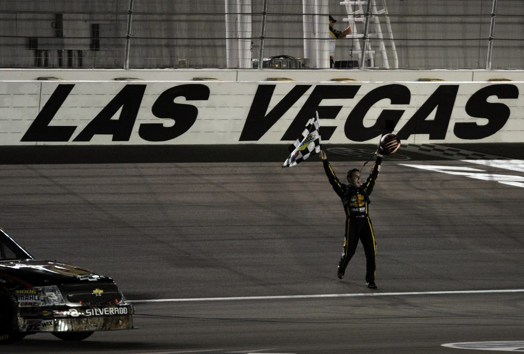 Austin Dillon celebrates the second win of his NASCAR career and RCR's third victory at Las Vegas Motor Speedway in 2010. (Harry How/Getty Images)