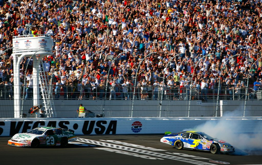 Jeff Burton scored RCR's second win in Las Vegas in dramatic fashion in 2007, passing Kyle Busch off the final corner on the last lap. (Harry How/Getty Images)