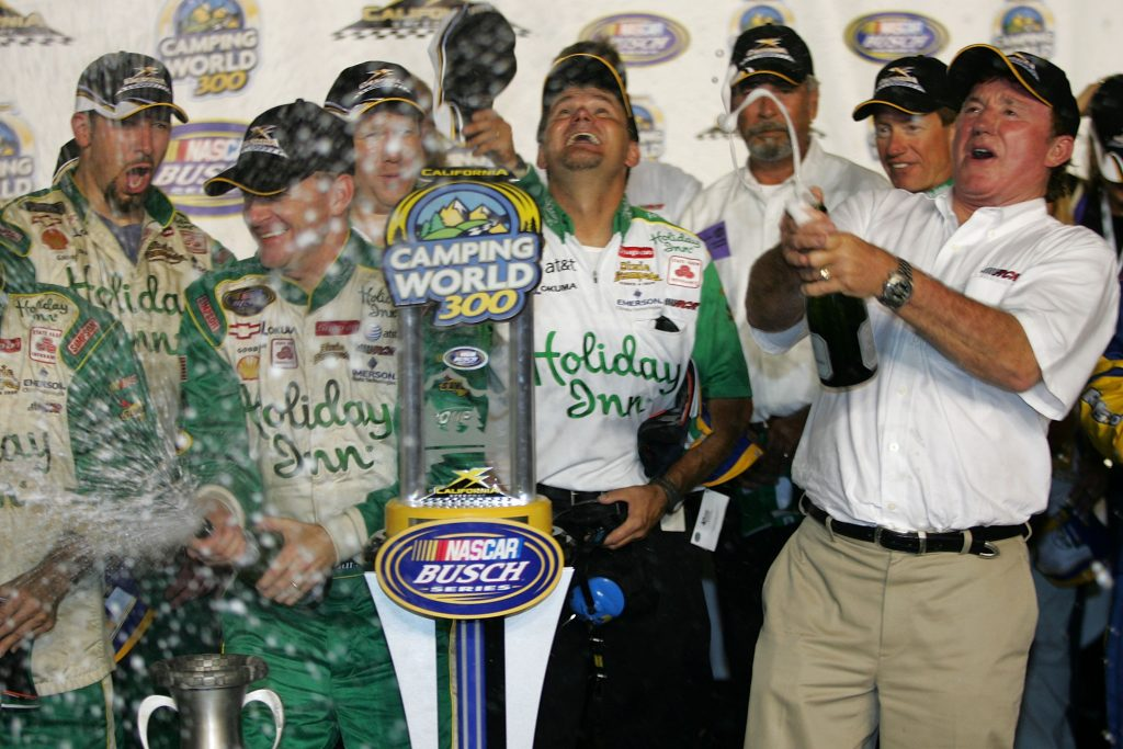 Jeff Burton, Richard Childress and the No. 29 crew celebrate their third victory of the 2007 season. (Todd Warshaw/Getty Images for NASCAR)