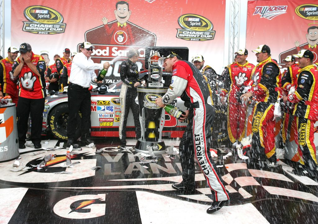 Richard Childress and Clint Bowyer celebrate the team's 100th Cup Series win in Talladega Victory Lane. (HHP/Christa L Thomas)