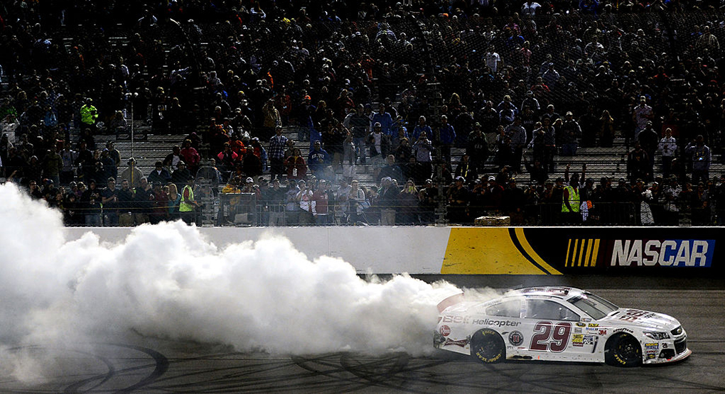 Kevin Harvick smokes the tires after winning at Richmond Raceway in April 2013, RCR's sixth win in the Richmond Spring race. Getty Images