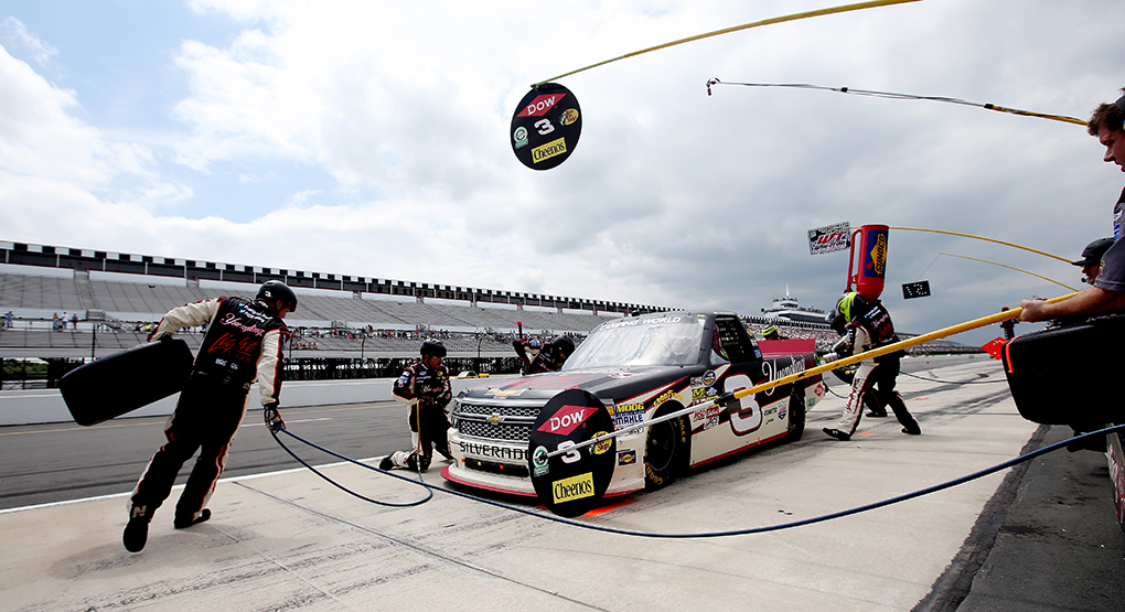 Crew chief Nick Harrison used a one-stop strategy to play the fuel mileage game and deliver a win for Austin Dillon and RCR at Pocono Raceway in August 2014. (Sarah Glenn/Getty Images)