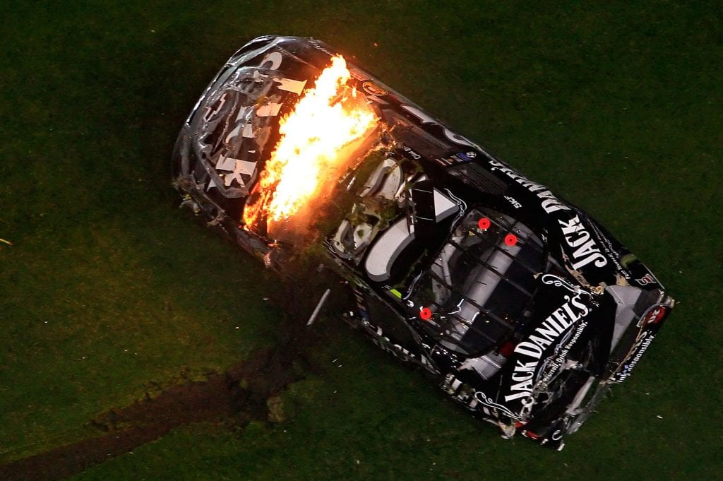 Clint Bowyer's No. 07 Jack Daniel's Chevrolet goes for a wild ride on the final lap of the 2007 Daytona 500. (Photo by Jamie Squire/Getty Images for NASCAR)   Getty Images