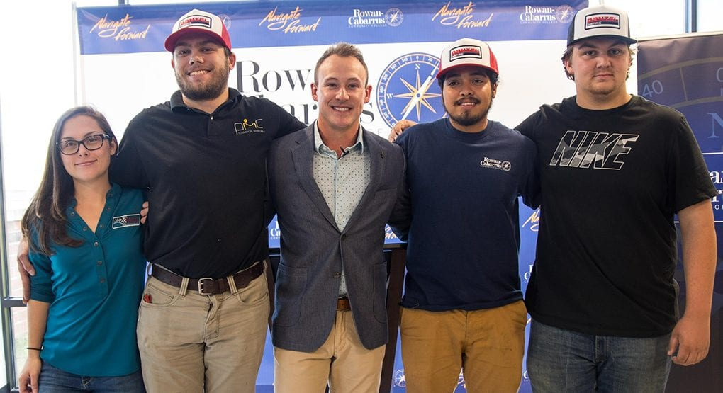 Daniel Hemric poses with current students of the motorsports program at Rowan-Cabarrus Community College after announcing the 'Daniel Hemric Be the Change Scholarship.' (Photo: Carter Wingfield)