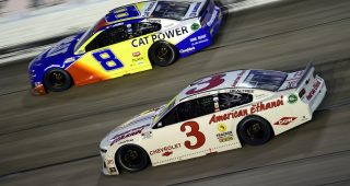 DARLINGTON, SOUTH CAROLINA - SEPTEMBER 06: Austin Dillon, driver of the #3 American Ethanol Chevrolet, and Tyler Reddick, driver of the #8 Cat Power Chevrolet, race during the NASCAR Cup Series Cook Out Southern 500 at Darlington Raceway on September 06, 2020 in Darlington, South Carolina. (Photo by Jared C. Tilton/Getty Images)   Getty Images